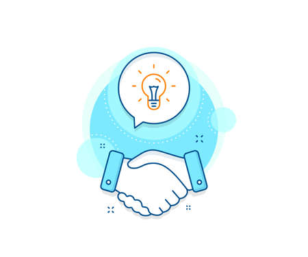 Light bulb sign. Handshake deal complex icon. Idea line icon. Copywriting symbol. Agreement shaking hands banner. Idea sign. Vector