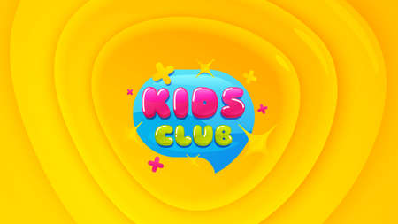 Kids club icon. Geometric plastic design banner. Fun playing zone banner. Children games party area icon. Orange shape background. Promotional plastic flyer design. Kids club promotion banner. Vector