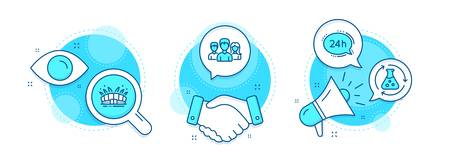 Chemistry experiment, 24h service and Teamwork line icons set. Handshake deal, research and promotion complex icons. Arena stadium sign. Laboratory flask, Call support, Group of users. Vector