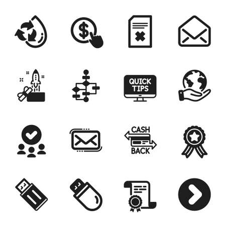 Set of Technology icons, such as Buy currency, Delete file. Certificate, approved group, save planet. Messenger mail, Web tutorials, Cashback card. Mail, Usb stick, Recycle water. Vector