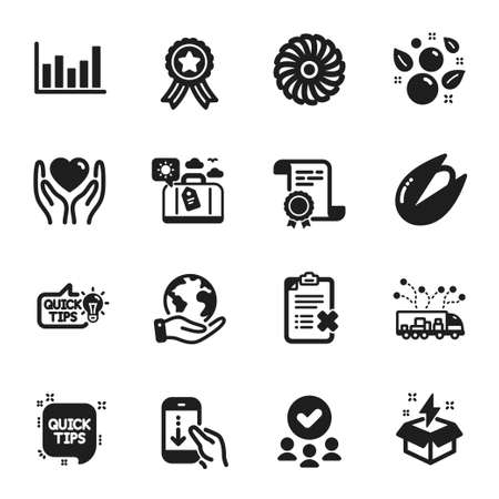 Set of Business icons, such as Scroll down, Hold heart. Certificate, approved group, save planet. Truck delivery, Column chart, Reject checklist. Travel luggage, Fan engine, Education idea. Vector