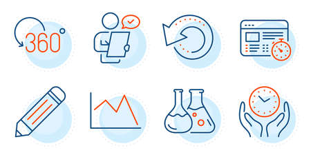 Chemistry lab, Web timer and Line chart signs. Pencil, Customer survey and Recovery data line icons set. Full rotation, Safe time symbols. Edit data, Contract. Science set. Outline icons set. Vector Ilustração