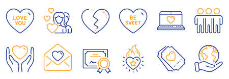 Set of Love icons, such as Love ticket, Be sweet. Certificate, save planet. Love letter, Heart flame, Friendship. Couple, Hold heart line icons. Social network, Trust friends. Line icon set. Vector
