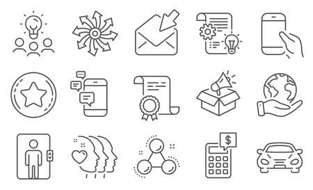 Set of Business icons, such as Calculator, Friends couple. Diploma, ideas, save planet. Chemistry molecule, Megaphone box, Car. Cogwheel, Versatile, Loyalty star. Vector