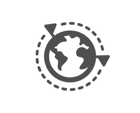 Global business with flags icon. International outsourcing sign. Internet marketing symbol. Classic flat style. Quality design element. Simple outsourcing icon. Vector