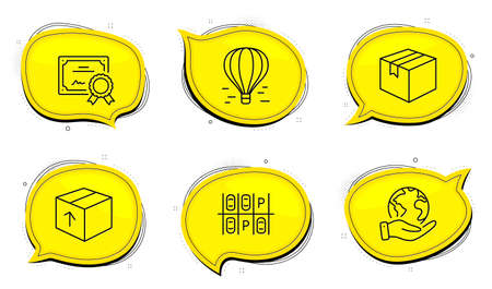 Air balloon sign. Diploma certificate, save planet chat bubbles. Package, Parking place and Parcel line icons set. Delivery pack, Transport, Shipping box. Flight travel. Transportation set. Vector