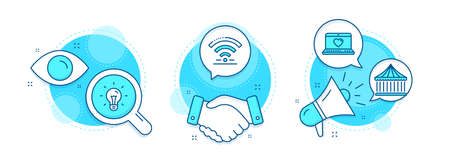 Wifi, Idea and Carousels line icons set. Handshake deal, research and promotion complex icons. Web love sign. Wireless internet, Light bulb, Attraction park. Social network. Vector Illustration