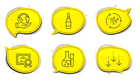 Scroll down sign. Diploma certificate, save planet chat bubbles. Wind energy, Beer bottle and Chemistry lab line icons set. Breeze power, Brewery, Laboratory. Swipe screen. Business set. Vector Ilustrace