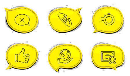 Fast recovery sign. Diploma certificate, save planet chat bubbles. Reject, Helping hand and Like hand line icons set. Delete message, Give gesture, Thumbs up. Backup timer. Business set. Vector