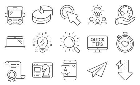 Set of Technology icons, such as Paper plane, Inspiration. Diploma, ideas, save planet. Ab testing, Laptop, Pie chart. Heartbeat timer, Seo strategy, Energy drops. Vector