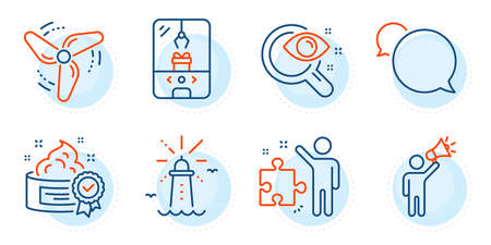 Cream, Crane claw machine and Messenger signs. Vision test, Lighthouse and Brand ambassador line icons set. Wind energy, Strategy symbols. Eyesight check, Navigation beacon. Outline icons set. Vector