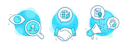 Throw hats, Ranking stars and Environment day line icons set. Handshake deal, research and promotion complex icons. Certificate sign. College graduation, Winner award, Safe world. Vector Иллюстрация