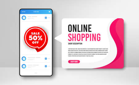 Phone banner template. Sale 50% off badge. Discount banner shape. Coupon bubble icon. Social media banner with smartphone screen. Online shopping web template. Sale 50% promotion badge. Vector