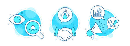 Report timer, Augmented reality and Chemistry experiment line icons set. Handshake deal, research and promotion complex icons. Intersection arrows sign. Vector Иллюстрация