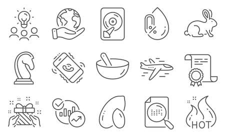 Set of Business icons, such as Statistics, Gift. Diploma, ideas, save planet. Animal tested, Search file, Call center. No alcohol, Airplane, Hot sale. Cooking mix, Peanut, Marketing strategy. Vector