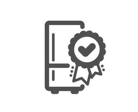 Certified refrigerator icon. Fridge award sign. Freezer storage symbol. Classic flat style. Quality design element. Simple certified refrigerator icon. Vector