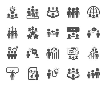 Meeting icons. Conference, seminar, classroom. Team, work and business idea icons. Discussion, classroom job, people management. Presentation, office meeting, consultation. Vector Vektorgrafik