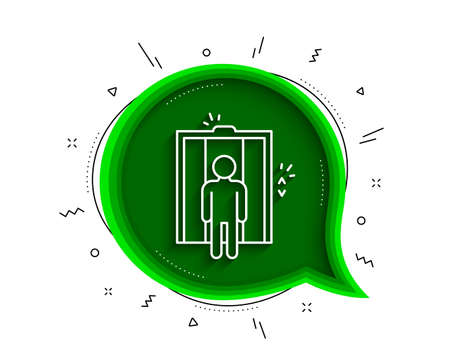 Lift line icon. Chat bubble with shadow. Elevator sign. Transportation between floors symbol. Thin line elevator icon. Vector