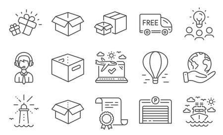 Set of Transportation icons, such as Parking garage, Shipping support. Diploma, ideas, save planet. Airplane travel, Air balloon, Office box. Opened box, Ship travel, Packing boxes. Vector