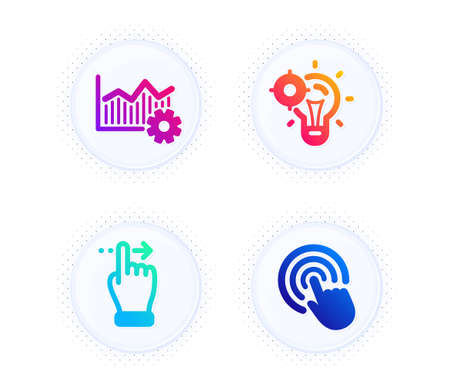 Touchscreen gesture, Seo idea and Operational excellence icons simple set. Button with halftone dots. Click sign. Slide right, Performance, Corporate business. Cursor pointer. Business set. Vector Banque d'images - 147242395