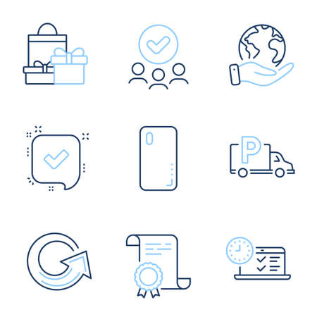 Smartphone cover, Reload and Online test line icons set. Diploma certificate, save planet, group of people. Confirmed, Shopping and Truck parking signs. Phone, Update, Examination. Vector