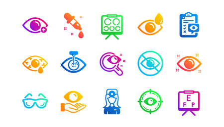 Medical laser surgery, glasses and eyedropper. Optometry, Eye doctor icons. Pink eye, Cataract surgery and allergy icons. Optician board, oculist chart. Classic set. Gradient patterns. Vector