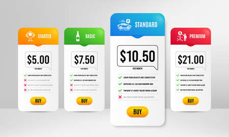 Victory, Income money and Car parking icons simple set. Price table template. Beer bottle sign. Championship prize, Wealth, Transport place. Craft beer. Business set. Vector