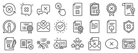 Set of Decline certificate, Cancellation and Dislike icons. Reject or cancel line icons. Refuse, Reject stamp, Disapprove or cancel. Wrong agreement, delete certificate, checklist document. Vector