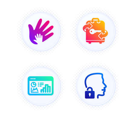 Seo statistics, Social responsibility and Luggage icons simple set. Button with halftone dots. Unlock system sign. Analytics chart, Hand, Baggage locker. Access granted. Business set. Vector