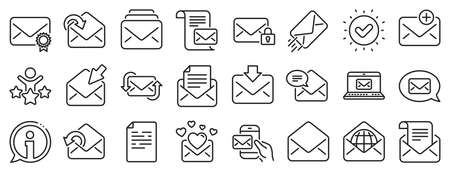 Newsletter, Email document, Correspondence icons. Mail message line icons. Received mail, Secure message and Web letter. Post office newsletter, Send email document, private communication. Vector