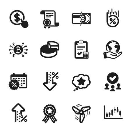 Set of Finance icons, such as Loan percent, Loyalty star. Certificate, approved group, save planet. Buy currency, Increasing percent, Wind energy. Vector