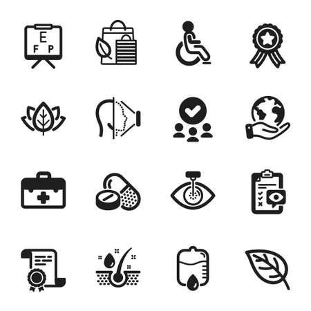 Set of Healthcare icons, such as Eye checklist, Serum oil. Certificate, approved group, save planet. Eye laser, Medical drugs, Drop counter. First aid, Face id, Disabled. Vector Vettoriali