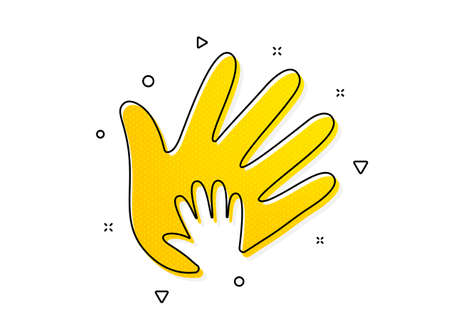 Social responsibility sign. Hand icon. Honesty, collaboration symbol. Yellow circles pattern. Classic social responsibility icon. Geometric elements. Vector