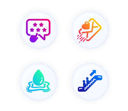 Ranking star, Love letter and Water splash icons simple set. Button with halftone dots. Escalator sign. Click rank, Heart, Aqua drop. Elevator. Business set. Gradient flat ranking star icon. Vector