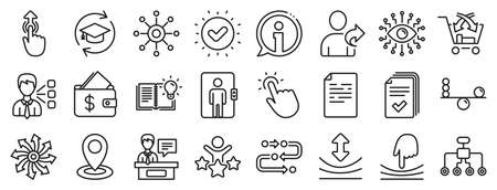 Continuing education, Methodology and Exhibitors icons. Artificial intelligence, Balance, Refer friend line icons. Swipe up, Elastic, Click here, Refer. Cross sell, Third party, Multichannel. Vector