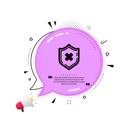 Reject protection icon. Quote speech bubble. Decline shield sign. No security. Quotation marks. Classic reject protection icon. Vector