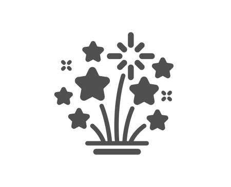 Fireworks stars icon. Pyrotechnic salute sign. Carnival celebration lights symbol. Classic flat style. Quality design element. Simple fireworks stars icon. Vector