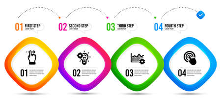 Touchscreen gesture, Seo idea and Operational excellence icons simple set. Timeline infographic. Click sign. Slide right, Performance, Corporate business. Cursor pointer. Business set. Vector Illustration