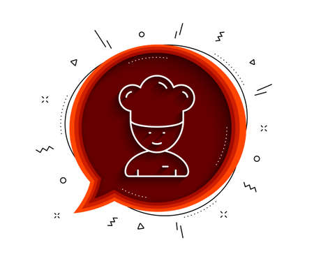 Cooking chef line icon. Chat bubble with shadow. Sous-chef sign. Food preparation symbol. Thin line cooking chef icon. Vector