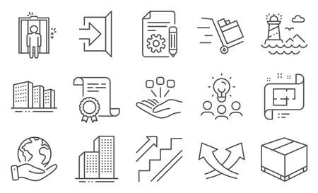 Set of Industrial icons, such as Architectural plan, Consolidation. Diploma, ideas, save planet. Documentation, Elevator, Intersection arrows. Exit, Stairs, Skyscraper buildings. Vector Çizim