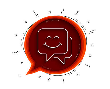 Smile face line icon. Chat bubble with shadow. Happy emoticon chat sign. Speech bubble symbol. Thin line smile face icon. Vector