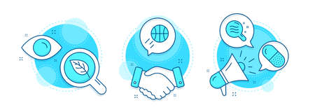 Leaf, Capsule pill and Skin condition line icons set. Handshake deal, research and promotion complex icons. Basketball sign. Environmental, Medicine drugs, Search magnifier. Sport ball. Vector Vettoriali