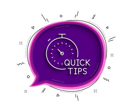 Quick tips line icon. Chat bubble with shadow. Helpful tricks sign. Tutorials with timer symbol. Thin line quick tips icon. Vector