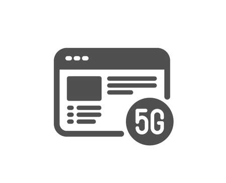 5g internet icon. Wifi web browser sign. Connection quality symbol. Classic flat style. Quality design element. Simple 5g internet icon. Vector