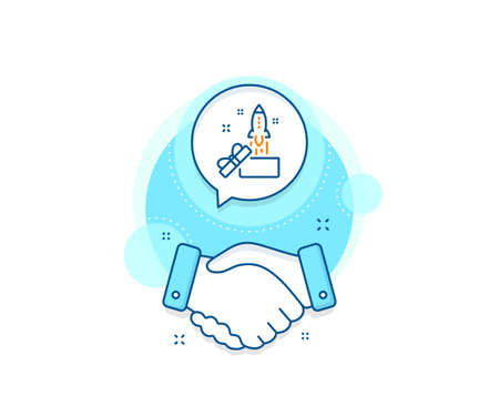 Launch Project sign. Handshake deal complex icon. Out of the box line icon. Startup symbol. Agreement shaking hands banner. Innovation sign. Vector