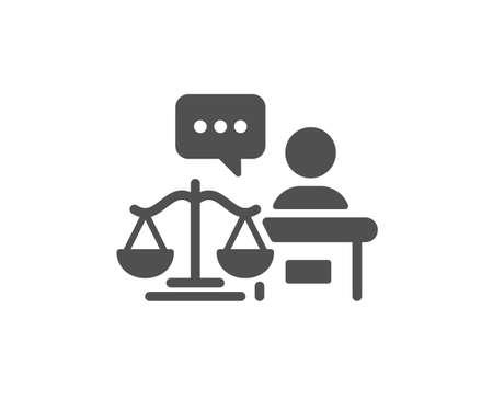 Court judge icon. Justice scale sign. Judgement law symbol. Classic flat style. Quality design element. Simple court judge icon. Vector Illusztráció