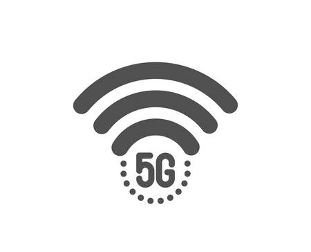 5g wifi technology icon. Wifi wireless network sign. Mobile internet symbol. Classic flat style. Quality design element. Simple 5g wifi icon. Vector