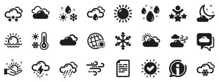 Cloudy sky, winter snowflake, thermometer. Weather and forecast icons. Moon night, rain and sunset icons. Weather temperature, meteorology forecast and wind, thunder bolt. Vector