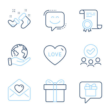 Wish list, Santa boots and Smile face line icons set. Diploma certificate, save planet, group of people. Love letter, Gift box and Love signs. Present box, New year, Chat. Heart. Holidays set. Vector