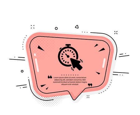 Timer icon. Quote speech bubble. Time or clock sign. Mouse cursor symbol. Quotation marks. Classic timer icon. Vector
